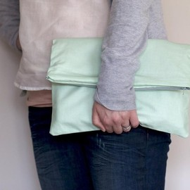 Luulla - Fold over Zipper Clutch in Pastel Mint Green with Slate Grey (gray) lining