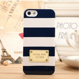 MICHAEL KORS - New Chic Fab Luxury Designer MK Navy And White Strips iPhone 5/5S Case Cover