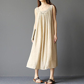 Orange tank dress - Cotton and linen sleeveless double long dress Orange tank dress