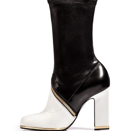 JIL SANDER - Leather Half Boots in Black/White