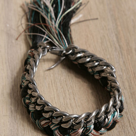 Patterned Silk And Metal Bracelet