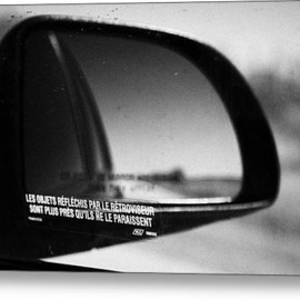 Fine Art America - Objects In Mirror Are Closer Than They Appear In French On Car Side Window On Highway Canada Metal Print By Joe Fox