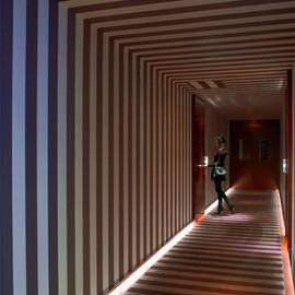 Royal Monceau Hotel - Corridor (with Room Service Girl wearing Louboutin high heels shoes) by Philippe Starck