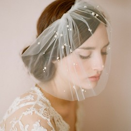 Mini tulle veil with pearls - Style # 212 - Ready to Ship