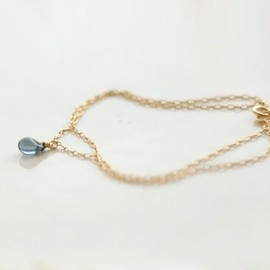 edor - Blue drop bracelet - double layered teardrop gold filled bracelet - delicate jewelry