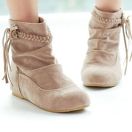 shoes - Image of  [grzxy61900092]Retro Romans Style Braid Fringed Leisure Bootie