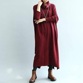 Khaki loose fitting dress - Knitted Dress, Maxi Dress, Khaki loose fitting dress, Long Red wine sweater dress, Turtleneck Dress