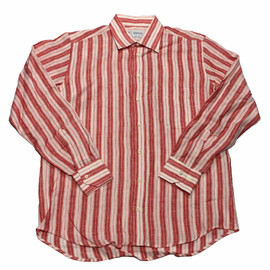 VINTAGE - Vintage Raphael Pure Linen Striped Button Up Shirt Made in Italy Mens Size Medium