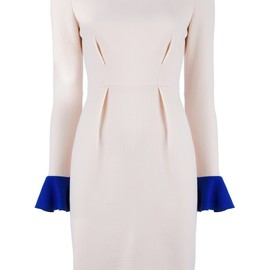 "ROKSANDA ILINCIC - ""IZUMI"" CREPE WOOL DRESS WITH FRILLED CUFFS"