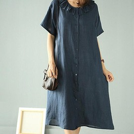 loose fitting Shirt dress - Linen dress, dark blue dress, military green dress, shirt dress, Linen shirt