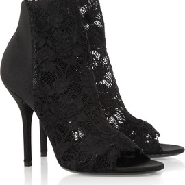 DOLCE&GABBANA - Leather-trimmed lace ankle boots