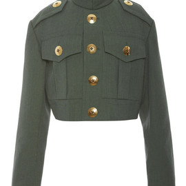 MARC JACOBS - SS2015 Green Melange Suiting Cropped Military Jacket