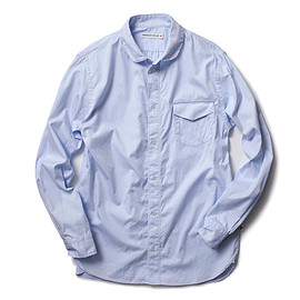HEAD PORTER PLUS - SHAWL COLLAR SHIRT BLUE