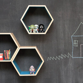 HandmadeRiot - Turquoise Floating Honeycomb Shelves