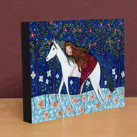 Luulla - Small Art Block Print Horse Dreamer
