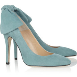 Carven - Bow-embellished suede pumps