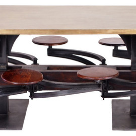 CRASH Industrial Supply - Perrin Communal Table with Attached Seating industrial dining tables