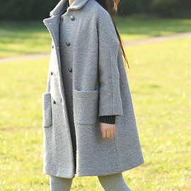 wool Overcoat - Women winter Clothing oversized loose double breasted wool coat