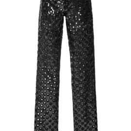 MARC JACOBS - RESORT 2015 Black Oversized Sequin Eyelet Guipure Pants