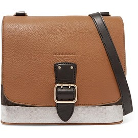 Burberry - London textured-leather and checked canvas shoulder bag