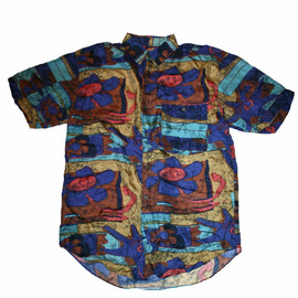 VINTAGE - Vintage 90s Colorful 100% Silk Short Sleeve Button Up Shirt Mens Size Small