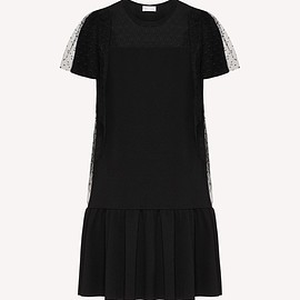 Red valentino - Jersey dress and point d'esprit tulle