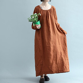Caramel color long dress - Caramel color long dress/ dress with pockets Asymmetric Long Sleeve Dresses