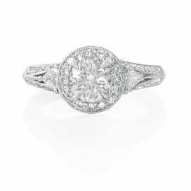 Firenze Jewels - Diamond Antique Style Platinum Engagement Ring Mounting