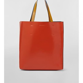 MARNI - Museo leather tote (CARROT+BURGUNDY+HONEY)