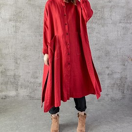 Shirt - Cotton linen Loose Fitting long Shirt, Women gown, Blouse for Women