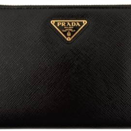 PRADA - PRADA Saffiano Vernice Zip Around Purse
