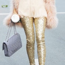 street - sequin leggings & fur