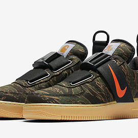 NIKE, Carhartt WIP - Air Force 1 Utility - Camo Green/Gum Light Brown/Total Orange