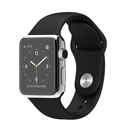 Apple - WATCH 38mm Stainless Steel Case with Black Sport Band