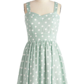 Milkshake Things Up Dress by Mink Pink - White, Polka Dots, A-line, Tank top (2 thick straps), Pastel, Jersey, Mint, Sweetheart, Casual, Short