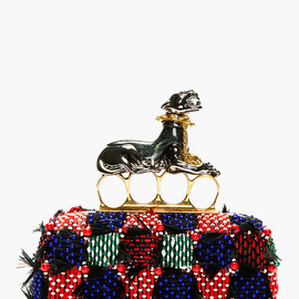 Alexander McQueen - Red & Purple Feather-Embroidered Panther Knuckle Box Clutch
