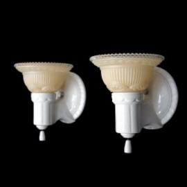 "アメリカ - 1930-40's ""2-way"" Porcelain Bathroom Lamp 【PAIR】"