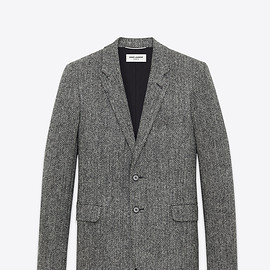 Saint Laurent Paris - CLASSIC SINGLE-BREASTED 2-BUTTON JACKET WITH LEATHER ELBOW PATCHES IN BLACK AND WHITE CHEVRON WOOL
