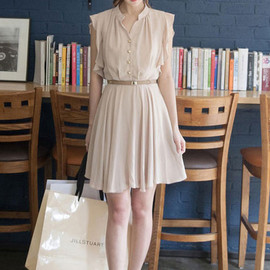 fashion - Elegant ladies buttons belted draped butterfly sleeve dress