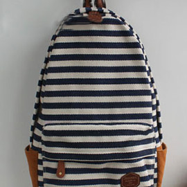 bag - Image of [grzxy6200088]Navy Style Stripe Print Canvas Backpack