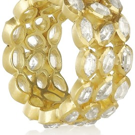 18-karat gold rock crystal eternity ring