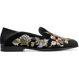 Alexander McQueen - Leather-trimmed embroidered velvet loafers