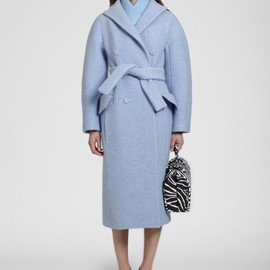 Carven - Blue boiled wool double breasted fitted coat with belt