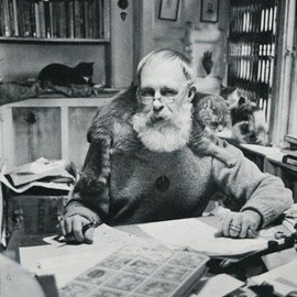 Edward Gorey with his cats.