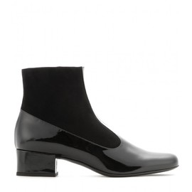 SAINT LAURENT - Babies patent-leather and suede ankle boots