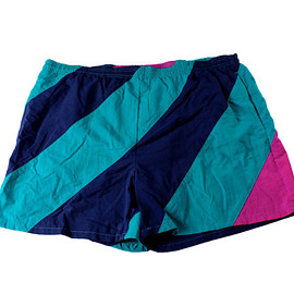 VINTAGE - Vintage 1990s 90s Teal/Navy/Pink Striped Swim Trunks Mens Retro Swimwear Size XL