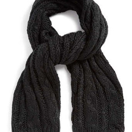 Topman - BLACK OVERSIZED CABLE KNIT SCARF