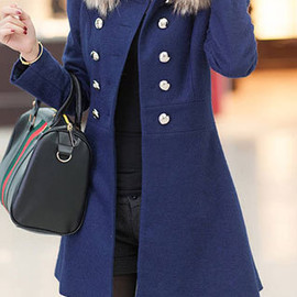 Detachable Collar Double Breast Slim Fit Tunic Coat Long Jacket Dress