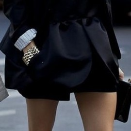 street - Peplum mini dress and blazer, Christian Louboutin Pigalle pumps