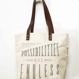 SlideSideways - silk screened tote bag - The Possibilities Are Endless
